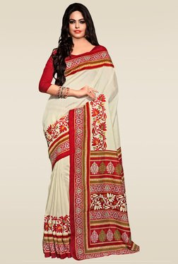 Saree Mall Beige Bhagalpuri Silk Saree With Blouse