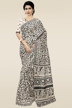 Saree Mall Beige & Black Printed Saree