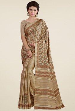 Saree Mall Beige Pashmina Silk Printed Saree