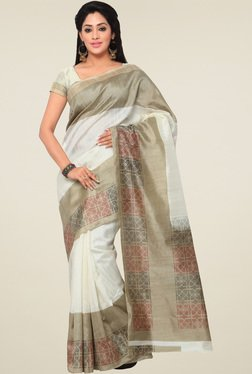 Saree Mall Off-White Printed Art Silk Saree