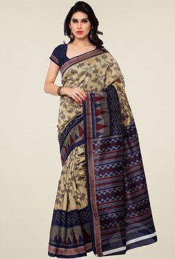 Saree Mall Beige & Navy Printed Saree