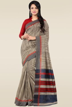 Saree Mall Beige & Grey Printed Saree