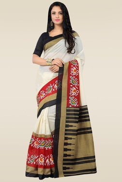 Saree Mall Cream Bhagalpuri Silk Printed Saree With Blouse