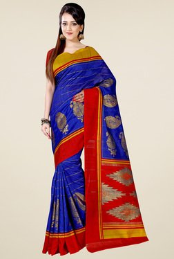 Saree Mall Blue Art Silk Printed Saree