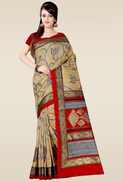 Saree Mall Beige & Maroon Art Silk Printed Saree