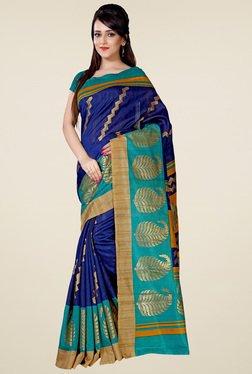 Saree Mall Navy Blue Art Silk Printed Saree