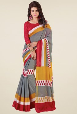 Saree Mall Beige Silk Printed Saree
