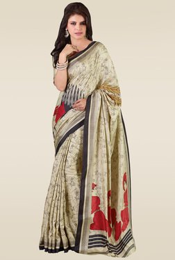 Saree Mall Beige Cotton Silk Printed Saree