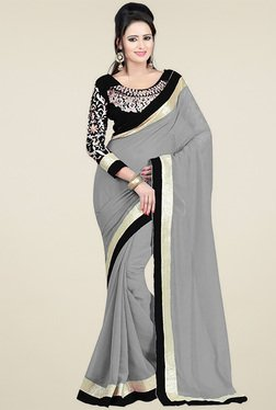 Ethnic Basket Grey Lace Work Saree With Blouse