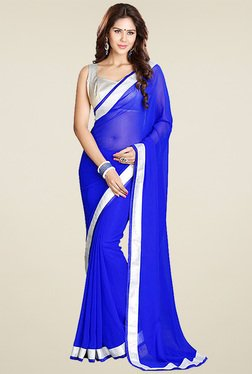 Ethnic Basket Blue Saree With Blouse