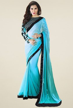 Ethnic Basket Sky Blue Lace Work Saree With Blouse
