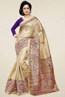 Saree Mall Beige Khadi Silk Saree With Blouse