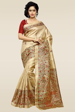 Saree Mall Beige Floral Print Khadi Silk Saree With Blouse
