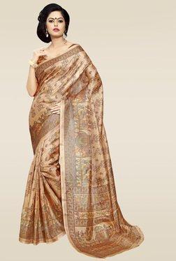 Saree Mall Brown Printed Khadi Silk Saree With Blouse