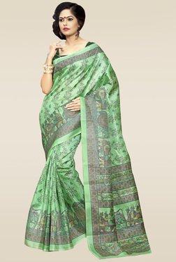 Saree Mall Green Printed Khadi Silk Saree With Blouse