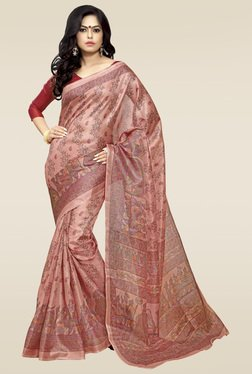 Saree Mall Pink Printed Khadi Silk Saree With Blouse