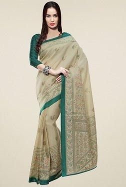 Saree Mall Beige & Green Khadi Silk Saree With Blouse