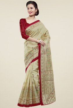 Saree Mall Beige & Red Khadi Silk Saree With Blouse