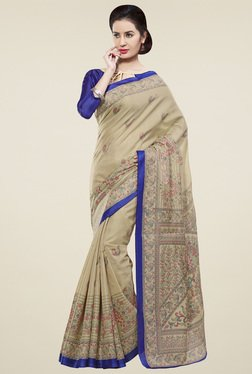 Saree Mall Beige & Blue Khadi Silk Saree With Blouse