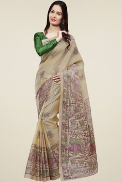 Saree Mall Beige Khadi Silk Saree With Blouse