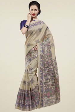 Saree Mall Beige & Blue Printed Khadi Silk Saree With Blouse
