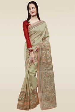 Saree Mall Beige & Red Khadi Silk Saree With Blouse