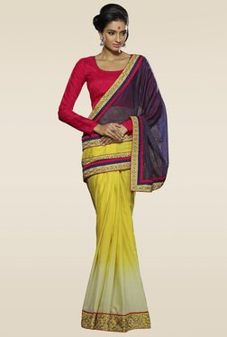 Ethnic Basket Navy & Yellow Half & Half Saree With Blouse