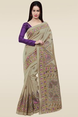 Saree Mall Beige & Purple Printed Khadi Silk Saree