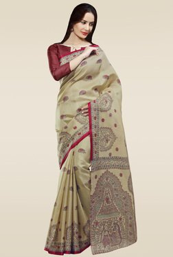 Saree Mall Beige & Red Printed Khadi Silk Saree