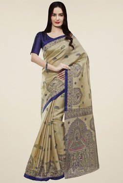 Saree Mall Beige & Blue Printed Khadi Silk Saree
