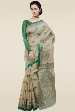 Saree Mall Beige & Green Printed Khadi Silk Saree