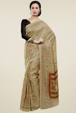 Saree Mall Beige Chevron Border Khadi Silk Saree With Blouse