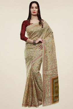 Saree Mall Beige & Red Chevron Border Saree With Blouse