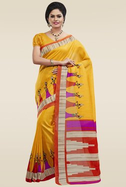 Saree Mall Yellow Printed Art Silk Saree