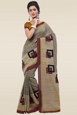 Saree Mall Dark Beige Printed Art Silk Saree
