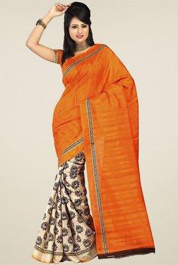 Ethnic Basket Orange Bhagalpuri Silk Saree