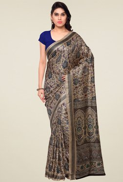 Saree Mall Beige Printed Silk Saree