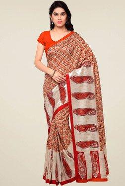 Saree Mall Orange Printed Silk Saree