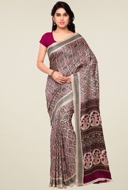 Saree Mall Beige Pashmina Silk Printed Saree