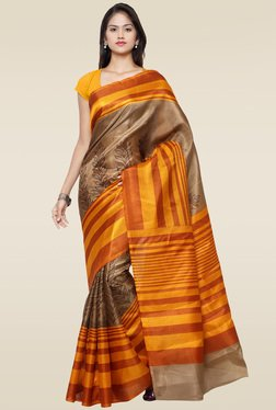 Saree Mall Brown Khadi Silk Saree With Blouse