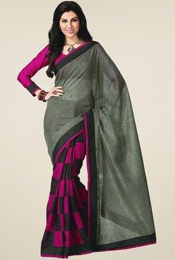 Ethnic Basket Green Bhagalpuri Silk Saree With Blouse