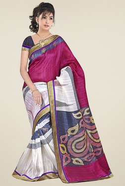 Ethnic Basket Pink Bhagalpuri Silk Saree With Blouse