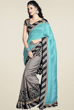 Ethnic Basket Sky Blue Bhagalpuri Silk Saree