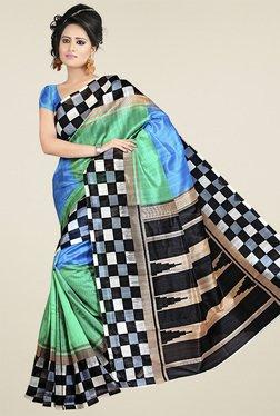 Ethnic Basket Multicolor Check Border Bhagalpuri Silk Saree