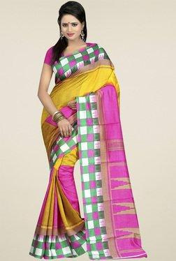 Ethnic Basket Yellow Bhagalpuri Silk Saree With Blouse