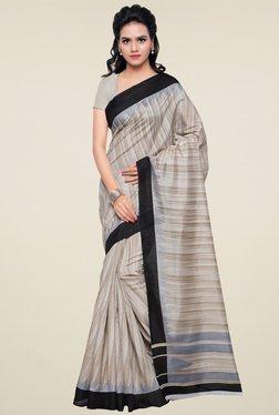 Saree Mall Beige Solid Border Bhagalpuri Silk Saree
