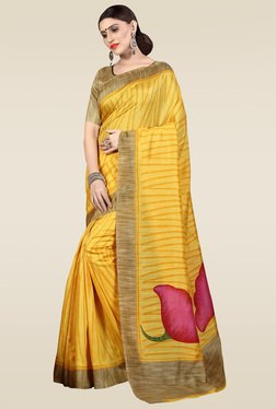 Saree Mall Yellow Bhagalpuri Silk Saree With Blouse