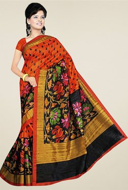 Ethnic Basket Orange Bhagalpuri Silk Saree With Blouse