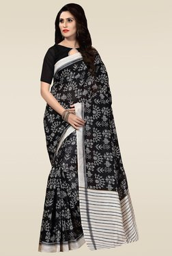 Saree Mall Black Bhagalpuri Silk Printed Saree With Blouse