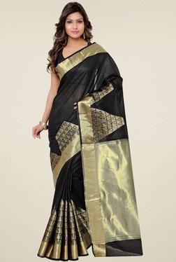 Ethnic Basket Black Banarasi Cotton Silk Saree
